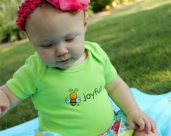 Organic Cotton Short Sleeve Bodysuit | Front Screened BEE JOYFUL | Back Screened BEE | Several Colors | Super Soft | 3-6 Month | 6-12 Months