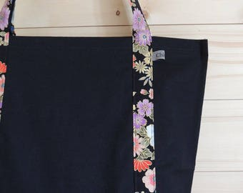 Black tote bag and floral Japanese fabric / by classy *.