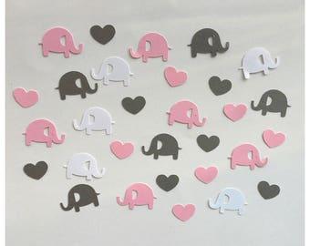 Elephant Shower Decor - Elephant Baby Shower - Baby Shower Confetti - Pink and Gray Baby Shower Decor - Elephant Confetti -Baby Shower Decor
