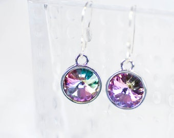 Purple Sterling Silver Earrings Light Vitrol Swarovski Crystals Handmade French Hooks Bridesmaids gift Under 30