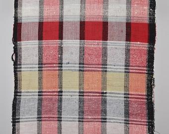 Vintage Hungarian Rag Rug. Red, Blue Black Check Floor Runner. Long Corridor Rug.