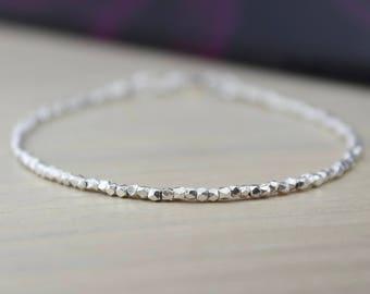 DAINTY SILVER BRACELET/Fine Silver Bracelet/Solid Silver Bracelet/Layering Bracelet/Silver Stacking Bracelet/Betty Boho/Gift For Her