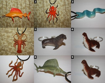 Sea Creature Accessories - Necklaces and Keychains - Sharks, Whales, Octopus, Seals and more!