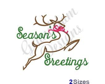 Seasons Greetings Reindeer - Machine Embroidery Design