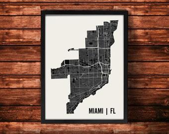 Miami Map Artwork | Map of Miami | Miami Florida Map | Miami City Map | Miami Poster | Miami Wall Art Print