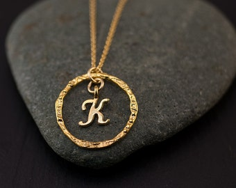Christmas Gift for Daughter - Monogram Personalized Initial Necklace - Gold Letter Necklace - Custom Initials Jewelry