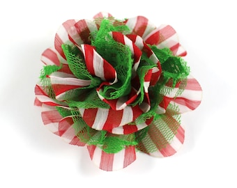 3.75 inch Christmas Chiffon Lace Flower in Red Stripe & Green Lace - Flower Head for Headbands and DIY Hair Accessories