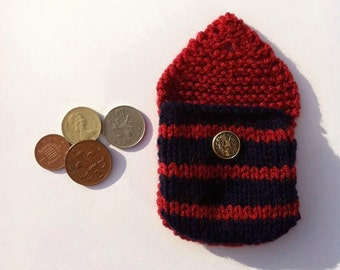 Small knitted purse nautical navy and red stripes