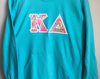 Kappa Delta Lagoon Comfort Colors Crewneck with Swish Fish Print on White Glitter (281A)