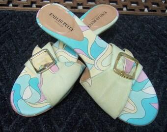 EMILIO PUCCI Stylish Cotton Print Buckle Mule Sandals US Size 6 M