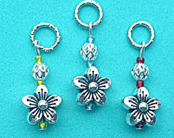 Hearing Aid Charms: Silver Plated Flowers with Silver Plated and glass Accent Beads  (also available in a matching Mother Daughter Set)!