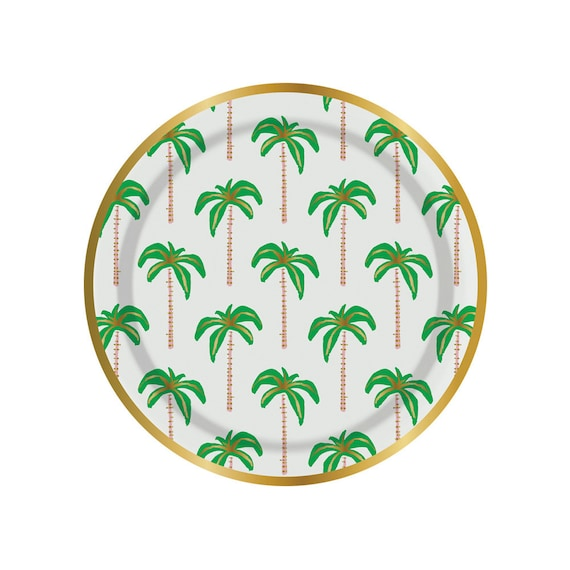 Palm tree paper plates. Set of 8. SMALL palm tree party plates. Gold foil and green palm tree plates. Tropical party plate.  sc 1 st  Etsy Studio : palm tree dinnerware - pezcame.com