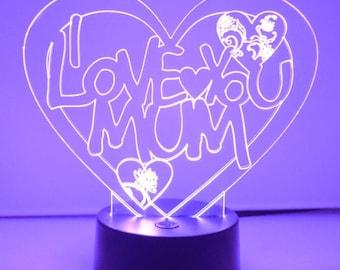 i LOVE YOU MuM Heart Colour Changing  Acrylic LED Light