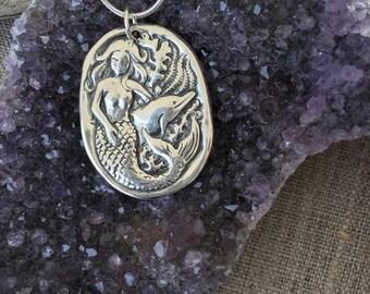 Mermaid & Dolphin Fine Silver Pendant
