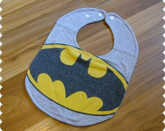 Superhero Batman Baby Bib, Recycled T-Shirt Baby Bib, Baby Shower Baby Boy Gift, Superhero Baby