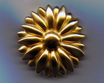 Elegantly Golden Sunflower Pin  - 1980s