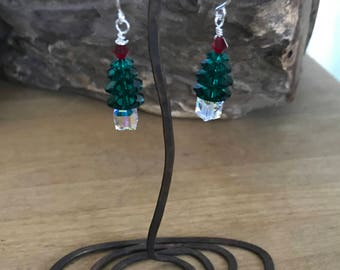 Swarovski Christmas Tree Earrings Crystal Christmas Earrings