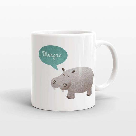 Custom Name Coffee Mug Hippopotamus Hippo Gift Idea for Women Men Her Him Mom Dad Adult Kid Best Friend Birthday Teacher Gift Personalized