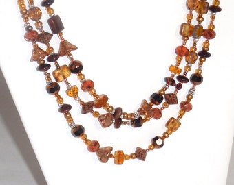 All Shades Brown and Amber Czech Glass Beads Wraparound Necklace