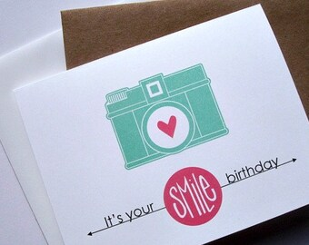 Birthday Card - Vintage Camera Happy Birthday, Smile It's Your Birthday, Bright Teal White Red Vintage Camera Greeting Card, Retro Birthday