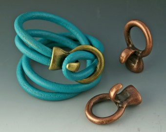 Antique Copper HOOK & LOOP Leather Clasp / Leather Closure 23x30 / Jewelry Making Supplies