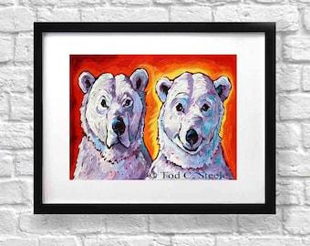"Bear Art Print, Bear Painting, 'I Hate Being Bi-Polar...It's Awesome!', /Polar Bear Art, 8x10"", from Original Painting by Tod C Steele"