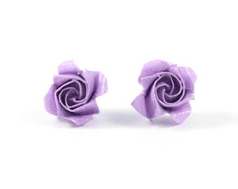 Chips Roses violets Origami Japanese paper earrings