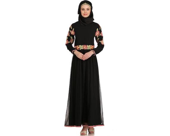 MyBatua Black Muslim Traditional Bestickte Einfache Look Party