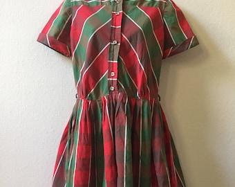 1950s dress, plaid dress, medium large dress, mini dress, shirtwaist dress, day dress, housewife dress, Betty Draper dress, pin up dress,