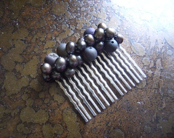 Her Bounty Baroque Pearl and Czech Druk Glass Wired Wrapped Hair Comb