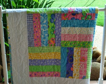 Patchwork Rail Fence Baby Quilt