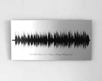 10 Year Anniversary Gift for Women, Tin Anniversary Gift, for Her, Voice Art / Song Sound Wave Art, 10th Anniversary Gifts for Men, for Him