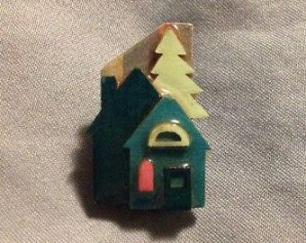 Vintage Brooch House Pin By Luchinda Small Dark Green With Trees
