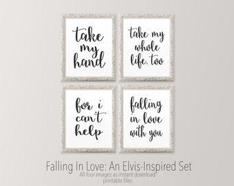 Printable wall art, Master bedroom art prints, Black and white wall art, Elvis inspired lyric print Romantic art prints HEART OF LIFE Design