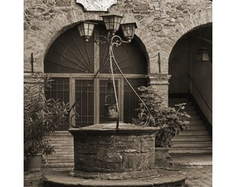 """Fine Art Sepia Photography of Tuscany - """"Old Well in the Tuscan Hilltown of Montalcino"""""""