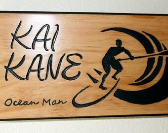 """Kai Kane """"Ocean Man"""" routed wood sign"""