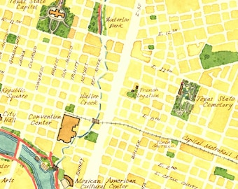 SALE—Watercolor Map of Austin