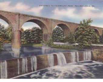 Vintage Linen Postcard...Pennsylvania, Philadelphia, Entrance to Fairmount Park...Used...no PA0052