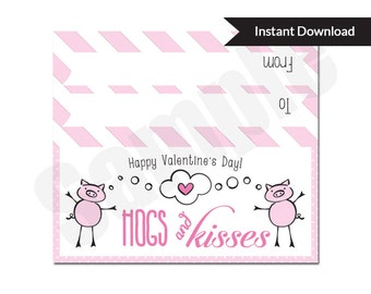 Hogs and Kisses Valentines Favor Treat Bag Topper Printable