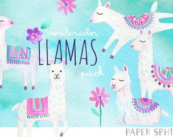Watercolor Llama Clipart   Alpaca Nursery Art - Tribal Animals and Flowers - Instant Download Digital PNG Files
