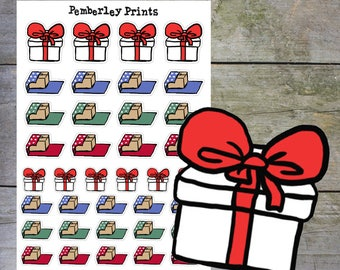Gift Wrapping // Hand Drawn Present Wrapping in Christmas Holiday Colour Scheme Planner Stickers Perfect for Planning // HD34