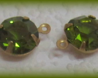 Swarovski Crystal, Olivine, UF, 16MM, 2 Ring, Round, Crystal, Faceted, Rhinestone, Open Backed, Brass, 4 Prong, Setting, Connector,