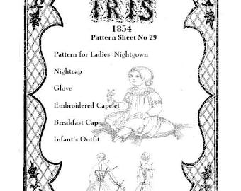 Iris Fashion Pattern 1854, No 29, full size reprint