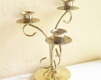 Vintage Gold Curvy Candelabra Centerpiece for 3 Candles