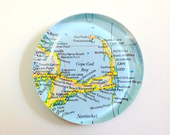 Vintage Map Paperweight - Cape Cod MA - Ready to ship