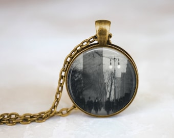 Glass NYC Jewelry New York City Necklace 1920 Alvin Coburn Necklace City that never sleeps glass pendant New York City Keepsake Necklace