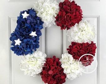 Patriotic Wreath, Hydrangea Wreath, 4th of July Wreath, Flag Wreath, Wreath Street Floral, Grapevine Wreath, Front Door Wreath