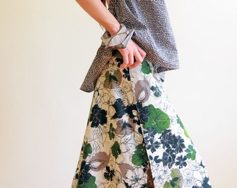 Knee length a-line skirt SEWING PATTERN with pull-on elastic waist and overlapped high side splits