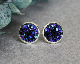 Purple Stud Earrings, Purple Earrings, Purple Druzy Earring Studs, Purple Post Earrings, Dark Purple Earrings, Purple Studs, Purple Earrings