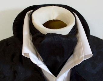 Midnight Black Dupioni SILK - DAY Cravat Victorian Ascot Tie Cravat